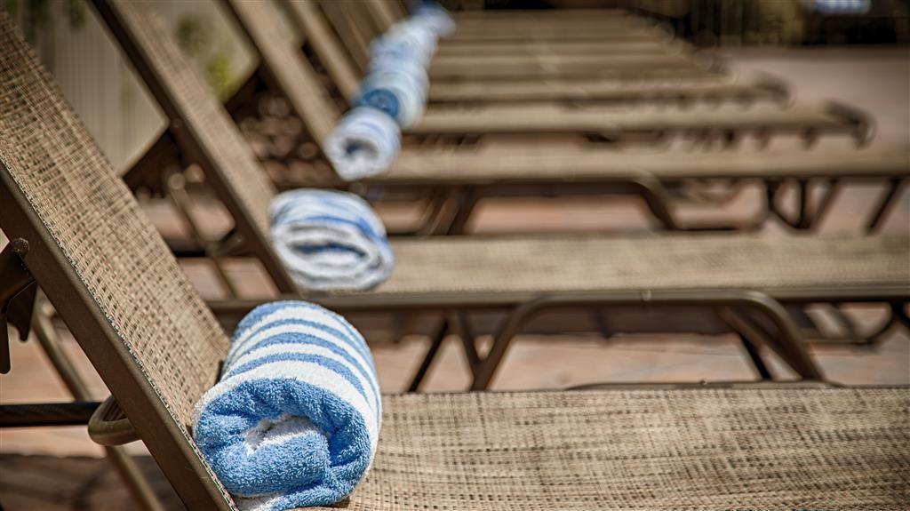 Best Western Plus University Inn - Relájese tomando el sol en una de nuestras cómodas chaises longues junto a la piscina al aire libre.