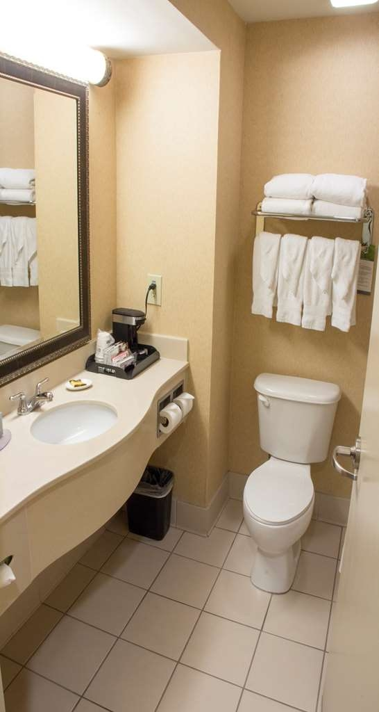 Best Western Plus Kendall Hotel & Suites - Bathroom comes equipped with shower head massage and hairdryer.