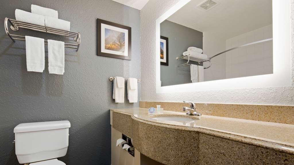 Best Western Waldo Inn & Suites - Our individual bathrooms all have granite counter tops, brightly back lit mirrors and either a bath tub or shower stall.
