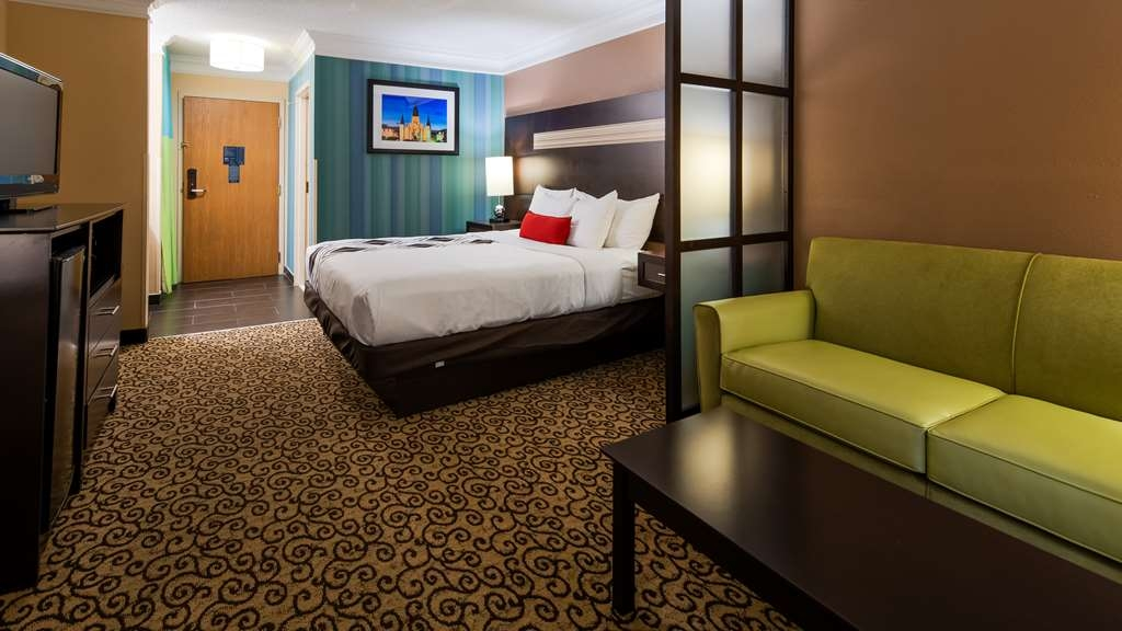 Best Western Plus Slidell Hotel - King Studio offers free wired and wireless high-speed Internet, mini refrigerator, microwave, flat panel TV and in-room safe. All rooms and suites offer a well lit work desk with ample outlets.