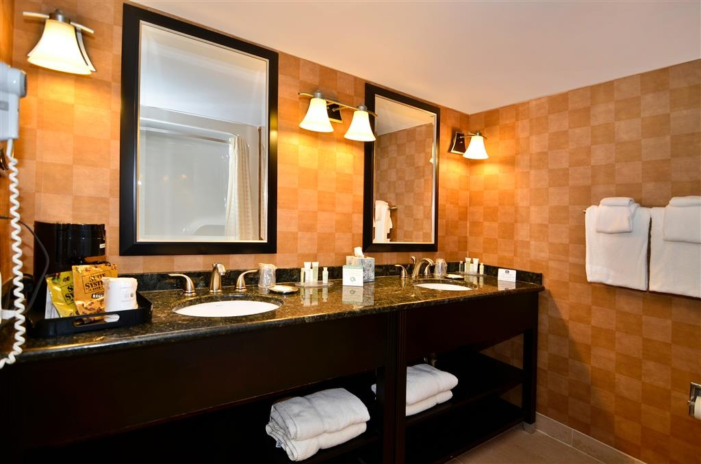Best Western Plus BWI Airport Hotel - Arundel Mills - All guest suite bathrooms come equipped with dual sinks, make-up mirror, and a hair dryer.