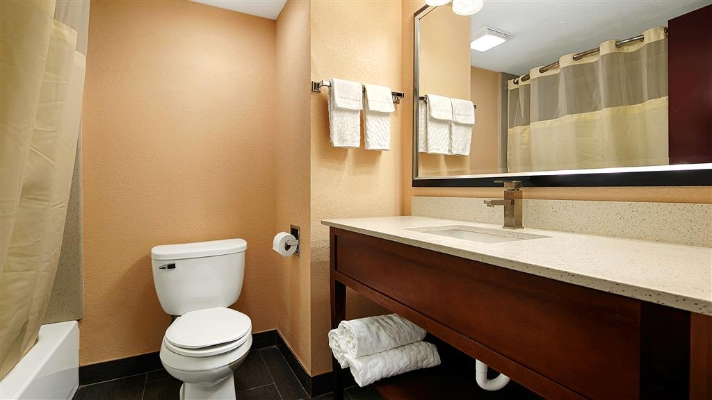 Best Western Canton Inn - All guest bathrooms have a large vanity with plenty of room to unpack the necessities.