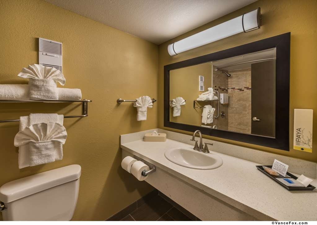Best Western Hoover Dam Hotel - Our Guest Bathroom is fully appointed with new quartz, tile and all Satin Nickel Fixtures.