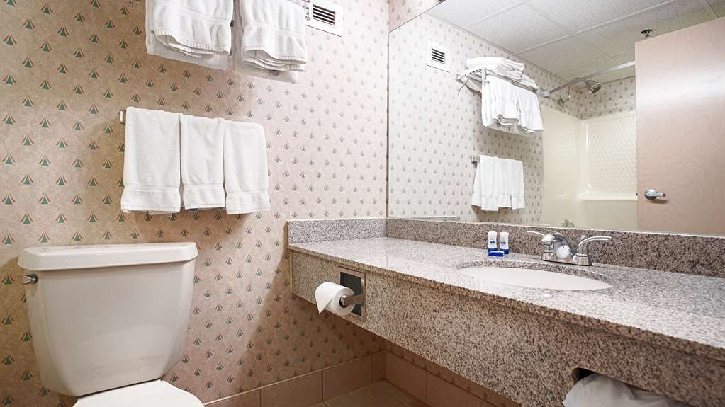 Best Western Saranac Lake - All guest bathrooms have a large vanity with plenty of room to unpack the necessities.