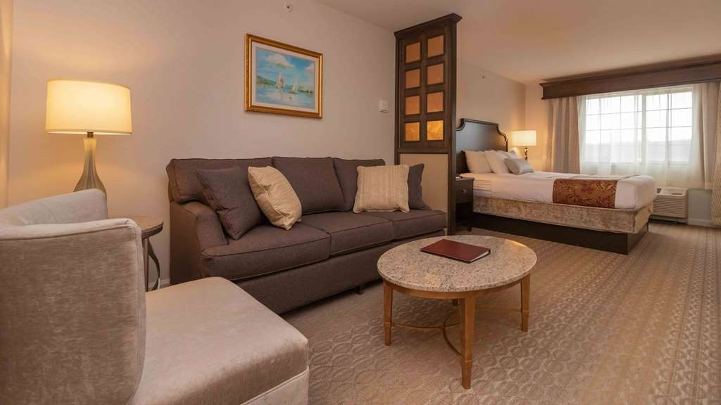 Best Western Plus Vineyard Inn & Suites - An oversized flat-screen TV can be viewed perfectly from both the bed and a sitting area that has a pull out sofa and lounge chair.