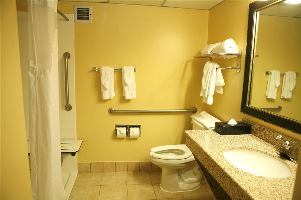 Best Western Plus Goldsboro - Mobility accessible guest bathroom with a roll-in shower.