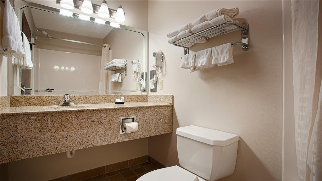 Best Western Okmulgee - All guest bathrooms have a large vanity with plenty of room to unpack the necessities.