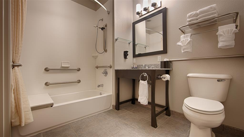 Best Western Plus Sand Bass Inn & Suites - We designed our ADA mobility accessible bathrooms for easy wheelchair access.