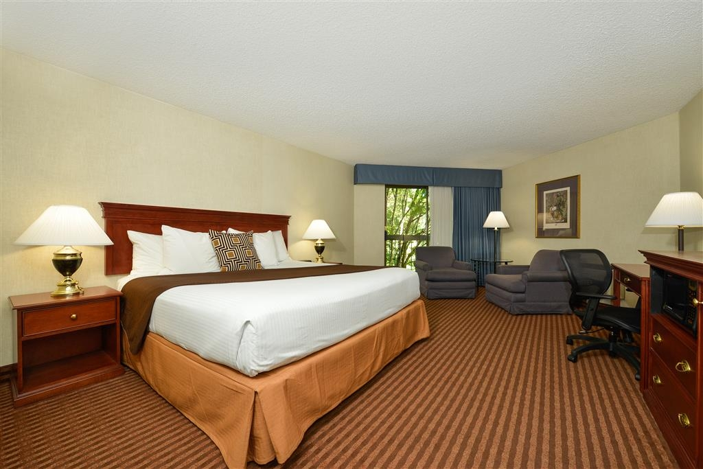 Best Western Greentree Inn - King guest rooms include all the amenities of home and a balcony facing the mill race waterway.