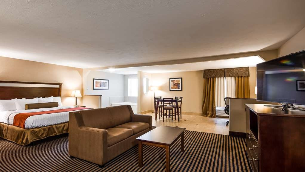 Best Western Plus Prairie Inn - King Suite with sofa sleeper and Jacuzzi in room. Stand up shower only in the bathroom.