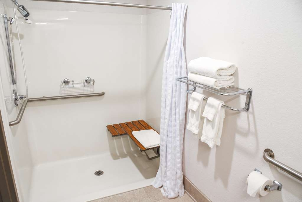 Best Western Lock Haven - Our king, non smoking room has an ADA compliant roll-in shower for your convenience.