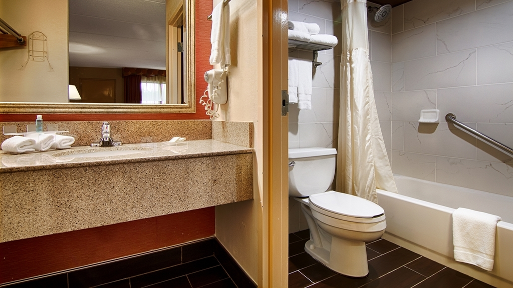 "Best Western Celebration Inn & Suites - Our newly renovated guestroom baths have a clean, modern ""spa Like"" feel..."