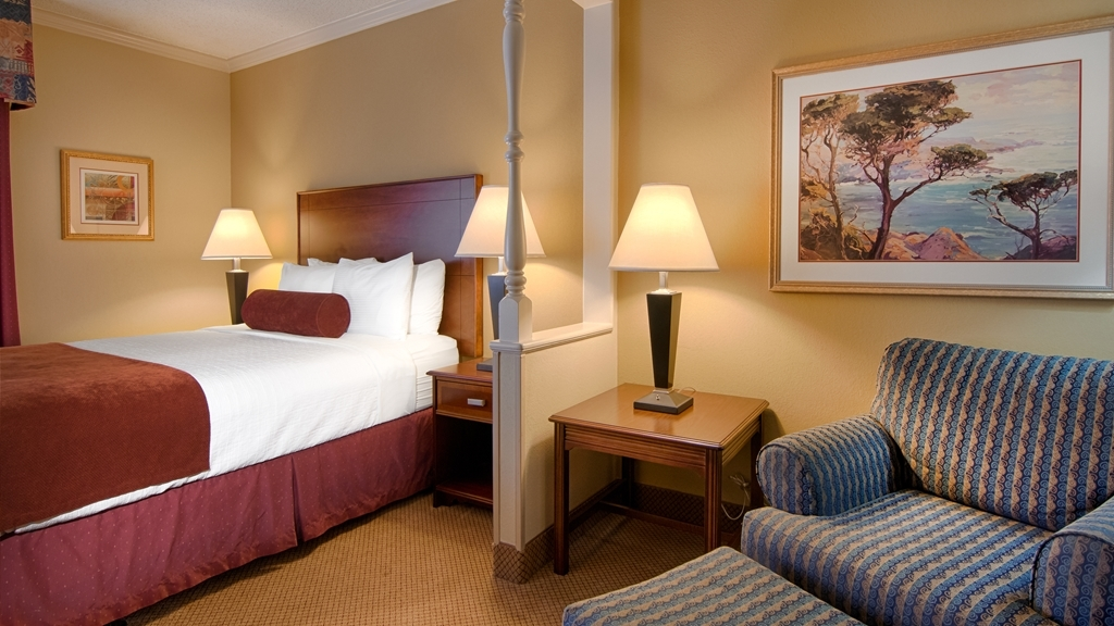 Best Western Plus Morristown Conference Center Hotel - Our queen mobility accessible room features an easy chair and ottoman and the bathroom is equipped with a roll-in shower.