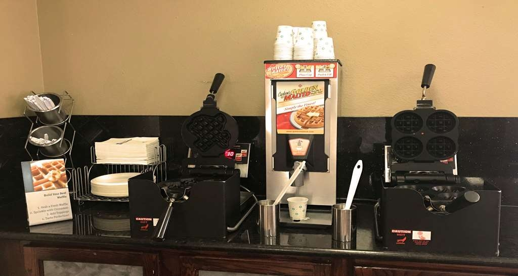 Best Western Inn & Suites - Our delicious make your own waffle station, which includes your choice of either large Texas shaped waffles or several mini-waffles. Then you can top them off with chocolate chips, peanut butter chips, cinnamon sugar, sprinkles or even whipped cream.