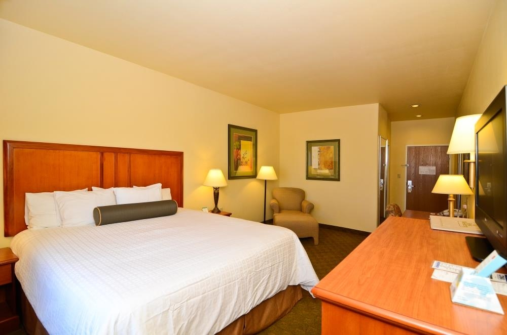 Best Western Plus Schulenburg Inn & Suites - Large king guest room includes 42-inch flat screen TV, microwave and refrigerator.