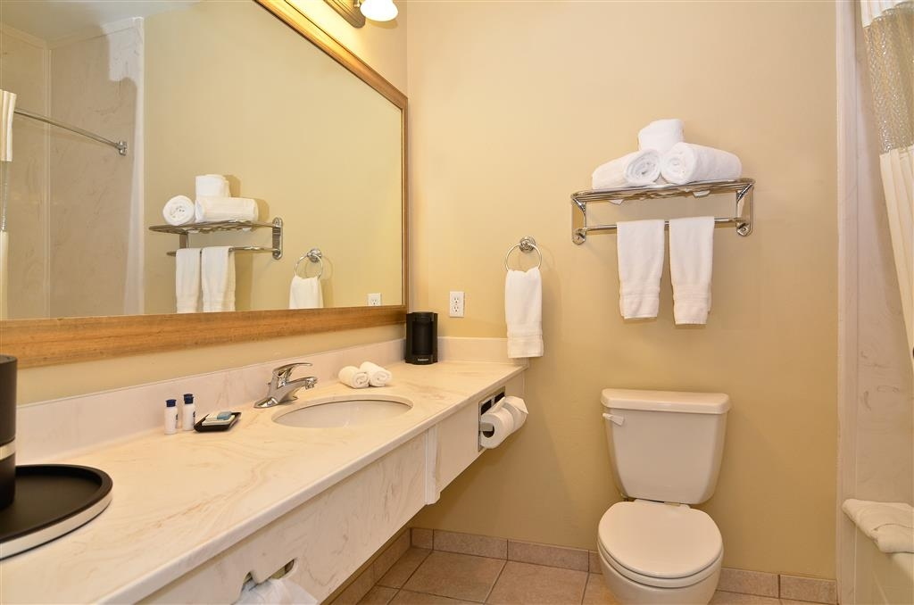 Best Western Plus Monica Royale Inn & Suites - Each guest bathroom gives our guests plenty of vanity space and lighting.