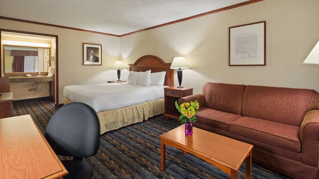 Best Western Fairfax - Guest Room with King size Beds, Sitting area, Desk, Lounge Chair with ottoman, HD TV with verity of channels offered by COX, Wi-Fi, Refrigerator & Microwave, Coffee Maker, Coffee & Tea