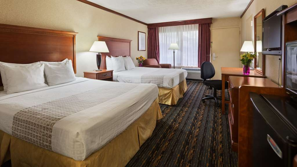 Best Western Fairfax - Guest Room with 2-Queen size Beds,Desk, Lounge Chair with ottoman, HD TV with verity of channels offered by COX, Wi-Fi, Refrigerator & Microwave, Coffee Maker, Coffee & Tea