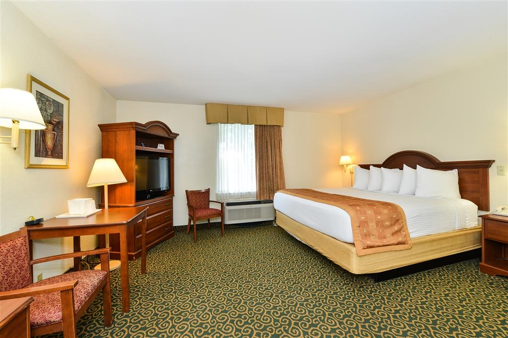 Best Western Wytheville Inn - This king guest room offers distinct areas for sleeping, eating and working.