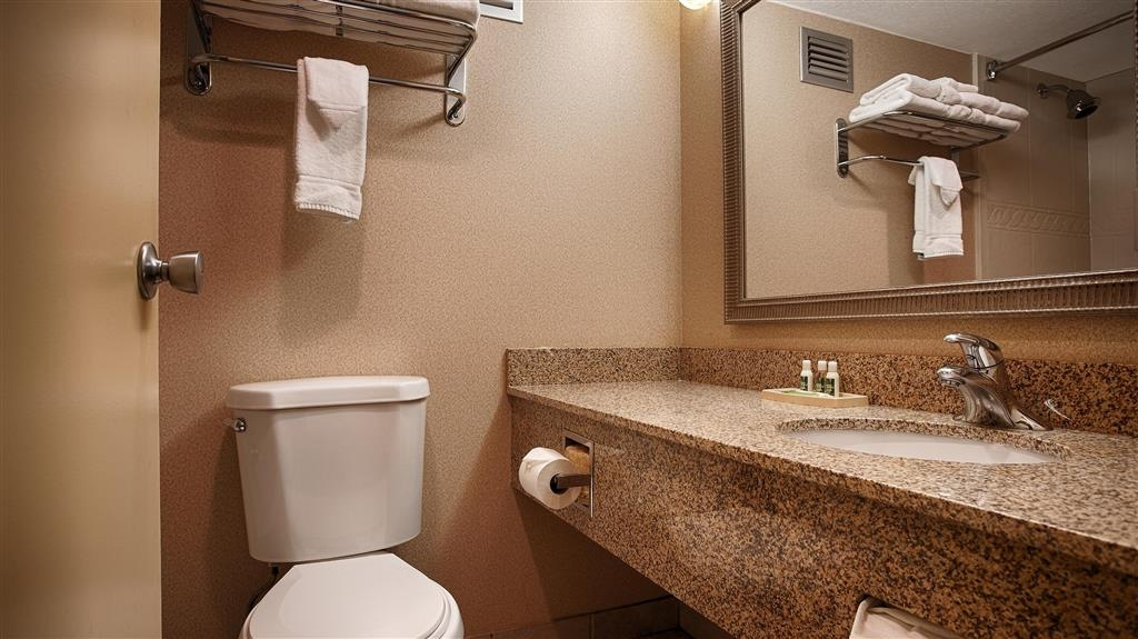 Best Western Plus Bridgeport Inn - All guest bathrooms have a large vanity with plenty of room to unpack the necessities.