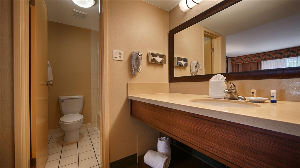 Best Western Seven Seas - All guest bathrooms have a large vanity with plenty of room to unpack the necessities.