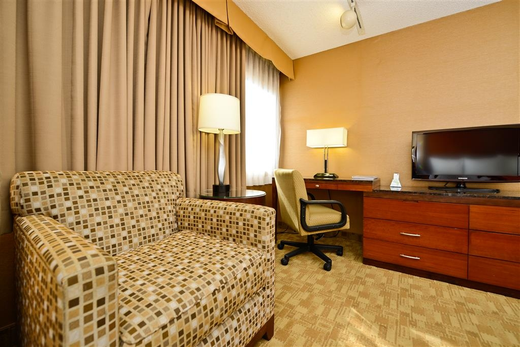 Best Western Inn at Palm Springs - King guest room with has a LCD TV, wireless internet, safe, refrigerator, coffee maker and iron/ironing board.