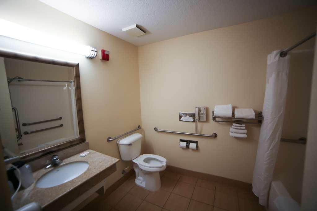 SureStay Plus Hotel by Best Western Evansville - We designed our mobility accessible bathroom to fit your needs.