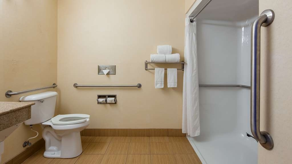 SureStay Plus Hotel by Best Western Evansville - There is plenty of space in this mobility accessible bathroom to get ready for the day.