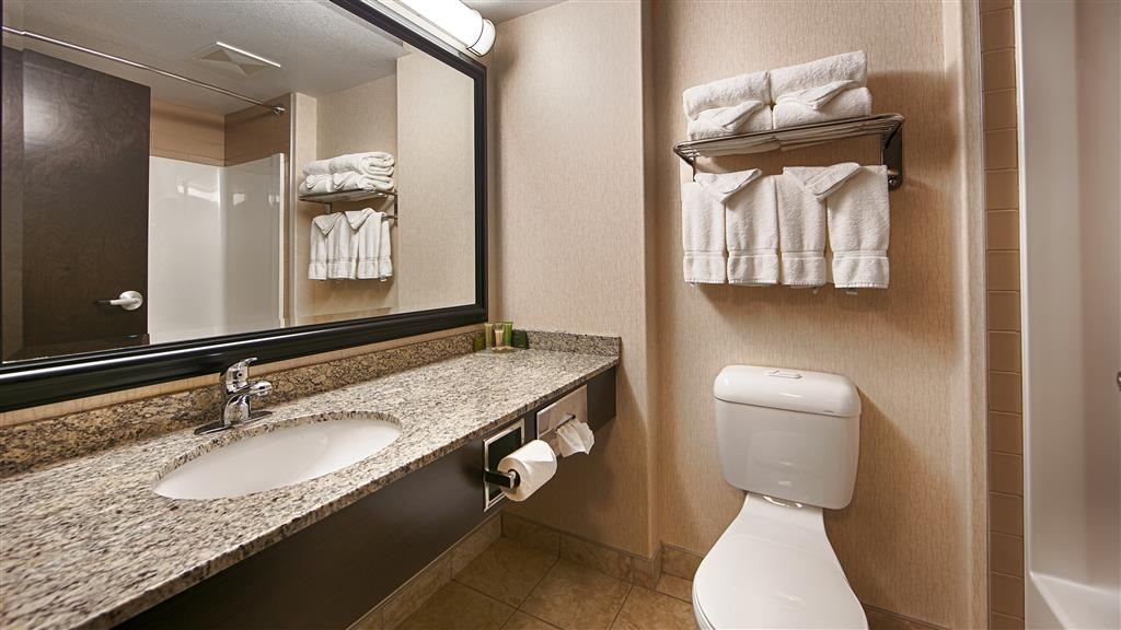 Best Western Bonnyville Inn & Suites - All guest bathrooms have a large vanity with plenty of room to unpack the necessities.