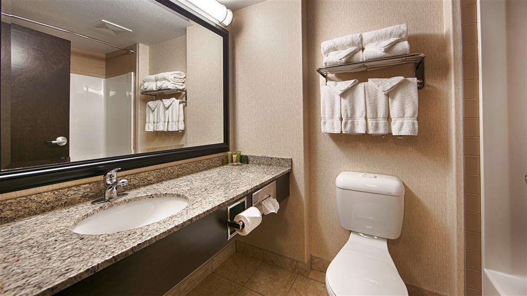 Best Western Bonnyville Inn & Suites - Toutes les salles de bains disposent d'un très grand lavabo offrant assez de place pour pouvoir y poser vos affaires de toilette.