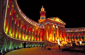 Best Western Denver Southwest - The Denver City and County Building all lit up for the Holidays!
