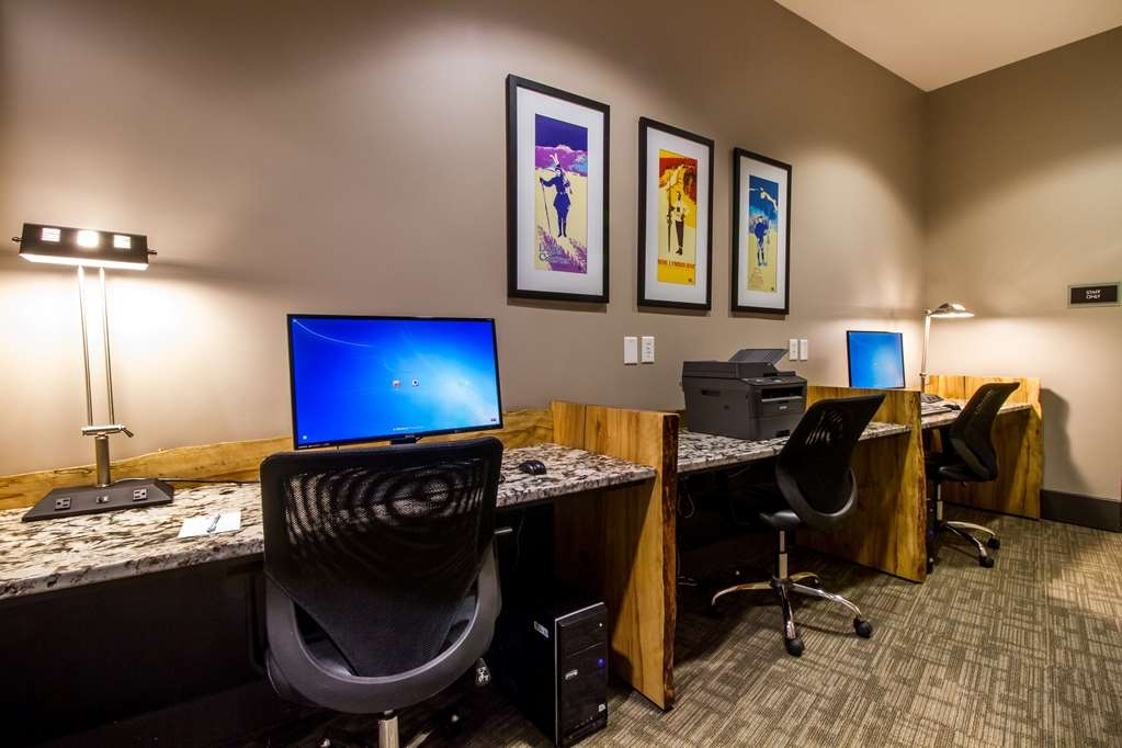 Best Western Plus Revelstoke - Our COmputer Stations on live-edge wood desks
