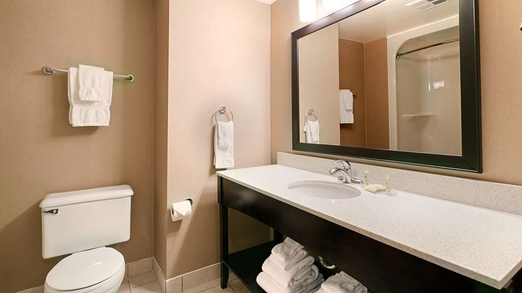 Best Western Swan Castle Inn - All guest bathrooms have a large vanity with plenty of room to unpack the necessities.