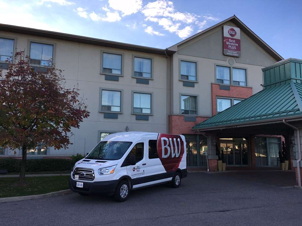 Best Western Plus Travel Hotel Toronto Airport - Complimentary 24-hour (on Call) Airport Shuttle Service. Make sure to contact the Hotel front desk for pickup from airport (YYZ). Shuttle departs from the hotel to airport every hour on the hour. 1 866 459 1234 or 416 620 6805