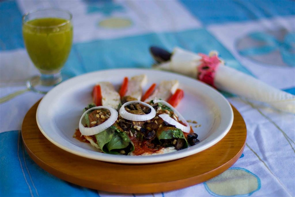Best Western Posada Chahue - Wrapping of Leaves with Mushrooms, Sunflower Seeds and Tofu on Tomato Sauce