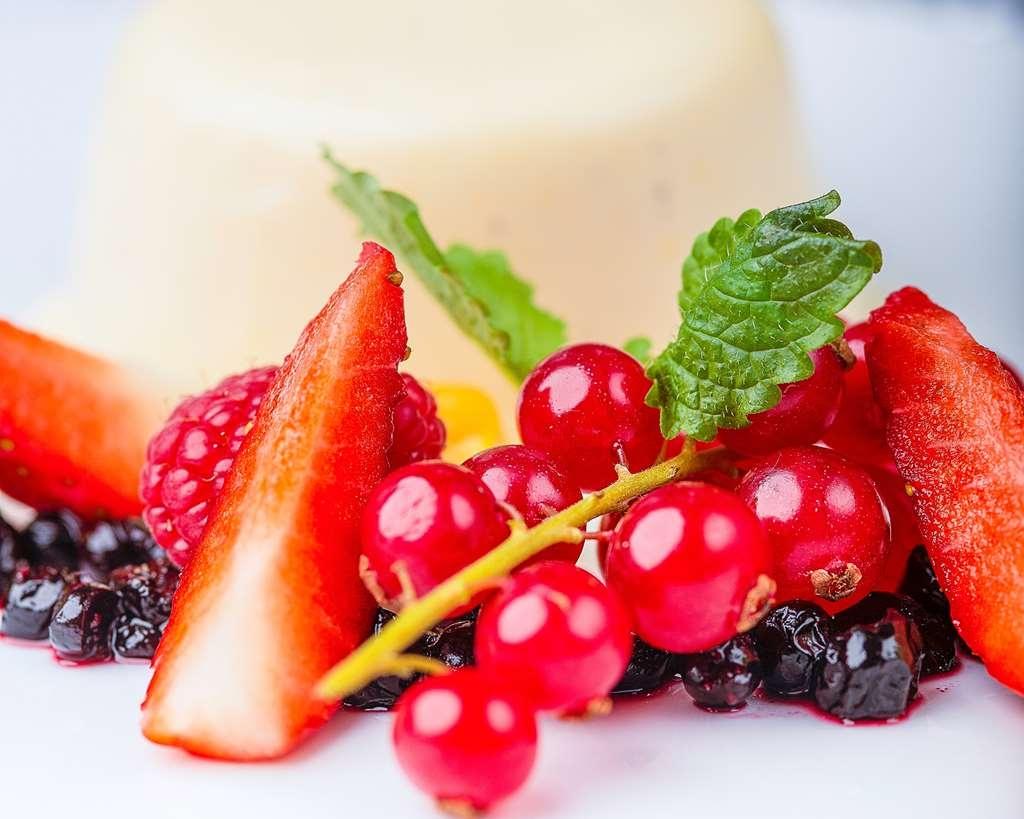 Best Western Hotell Karlshamn - À la carte panna cotta with berries dessert.